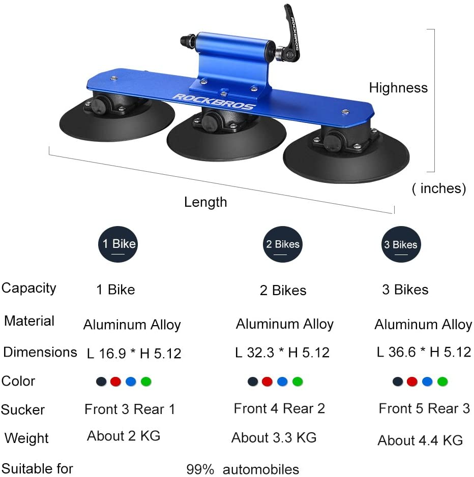 ROCKBROS Suction Cup Bike Rack for Car Roof Top Sucker Bike Rack Quick Release Aluminium Alloy Bike Carrier with Sucker for Car